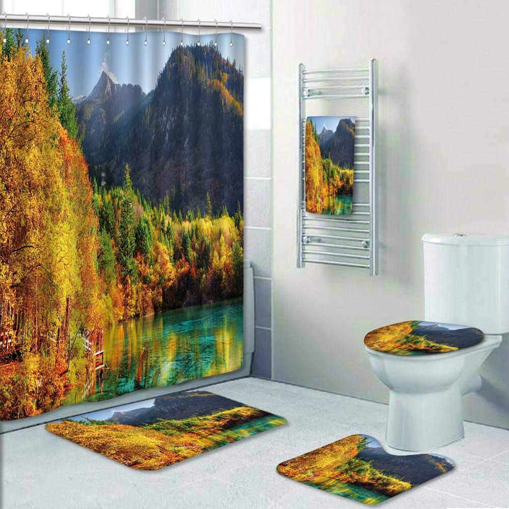 Philip-home 5 Piece Banded Shower Curtain Set Fantastic View of The Five Flower Lake Multicolored Lake Among Colorful Fall Woods Decorate The Bath