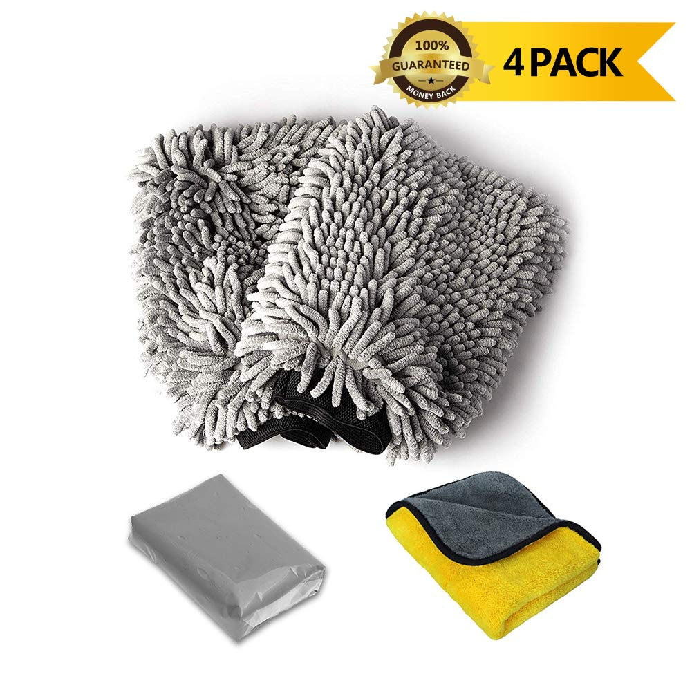 upra Car Wash Cleaning Kit, Set of 4, 2 Car Wash Mitts / 1 Microfibre Towel / 1 Auto Detailing Magic Clay Bar Cleaner for Car Wash Car Detailing Clean