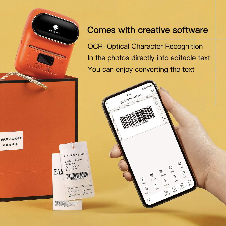 Kleidung,Kompatibel mit iOS- und Android-Ger/äten Barcode Phomemo M110 Etikettendrucker-Tragbarer Etikettendrucker Bluetooth Thermoetikettenhersteller Schmuck Kabel Geeignet f/ür B/üro Orange
