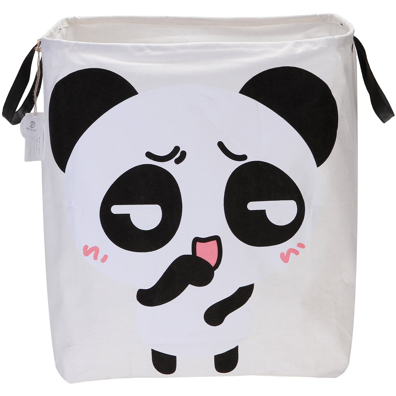 Sea Team 19.7(H) Large Sized Waterproof Coating Ramie Cotton Fabric Folding Laundry Hamper Square Burlap Canvas Storage Basket with Cute Panda Design (Panda A)