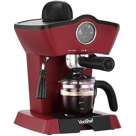 Vonshef 4 Bar Espresso Coffee Machine Maker Red 280ml Milk Frothing Wand Temperature Gauge Removable Drip Tray
