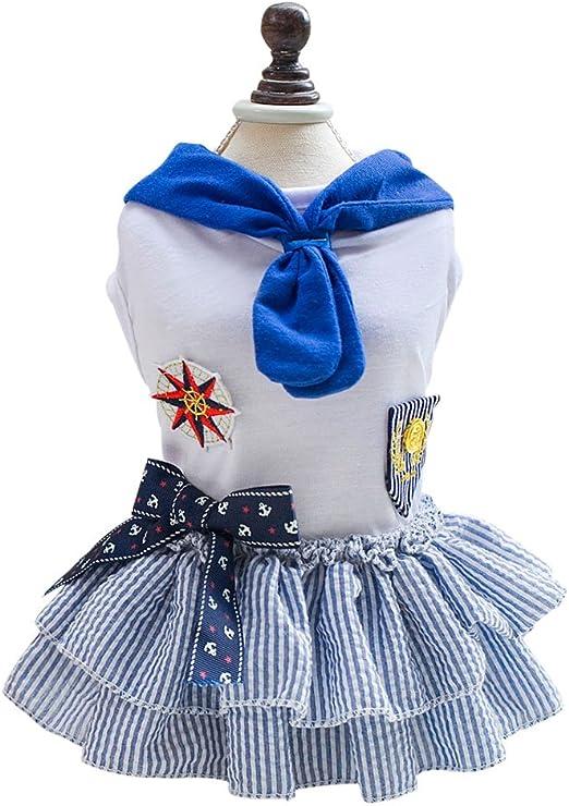 Verano Pet Dog Sailor Skirt Vestido Tutu Puppy Cat Ropa Ropa ...