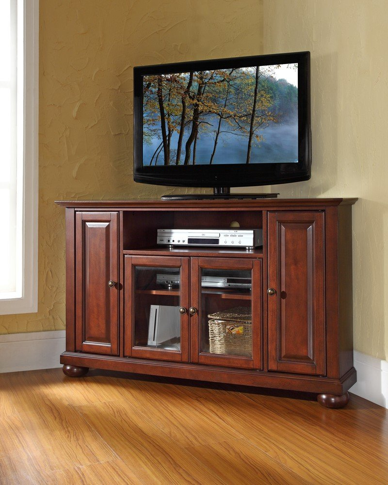 corner tv stands top  best rated corner tv cabinets  - corner tv stands crosley furniture alexandria full view