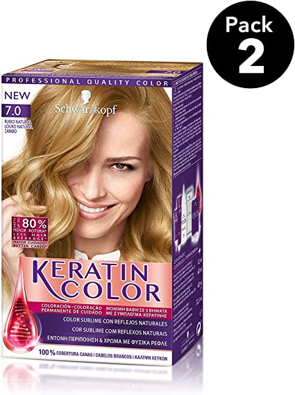 Keratin Color de Schwarzkopf - Tono 7.0 Rubio Natural - 2 uds - Coloración permanente