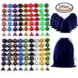 Goodlucky365 126 Polyhedral Dice - Complete Sets Of Seven Dice In 18 Colors - 126 Dice in 18 Little Dice Bags - FREE Large Velvet Dice Bag for Dungeons and Dragons Dice