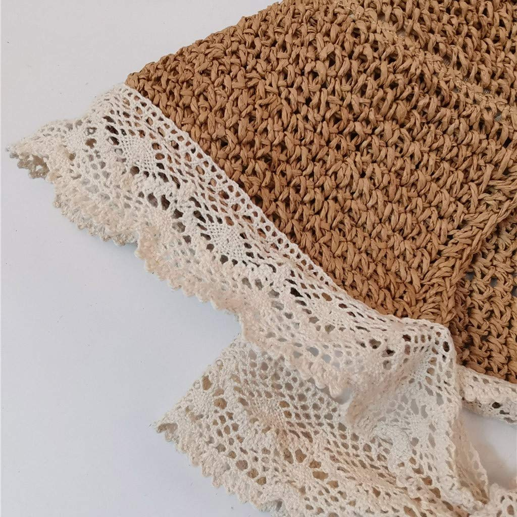 Minipoco Straw hat Woven Fisherman hat Ladies Lady Beach Medium Brim Summer Folding Travel Sun Straw hat