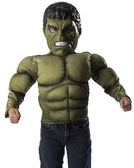 Avengers - Disfraz de Hulk, pecho musculoso y máscara para niños, talla 4-6 años (Rubies 31481)