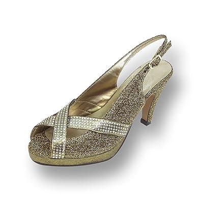 9821ebdea1f Floral FIC Tiffany Women Extra Wide Width Slingback Platform Heels Gold 5