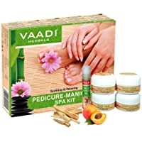 Vaadi Herbals Organic Pedicure Manicure Spa Kit With Grapeseed Extract And Fenugreek - Soothing & Refreshing Hands Feet Toes & Nails - All Natural - Suitable For All Skin Types And Both For Men And Women 135 Ml
