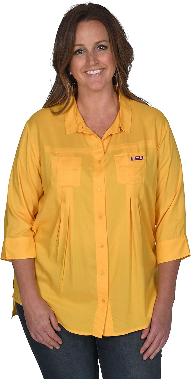 2 UG Apparel NCAA Womens Front Pleat Button-Up