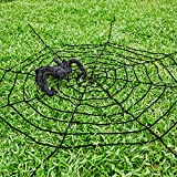 Oliva Branch Halloween Decorations, 11 Feet Giant Black Spider Web and 3 Feet Spider Decorations Festive Party Supplies Outdoor Indoor (Extra Large, Black)