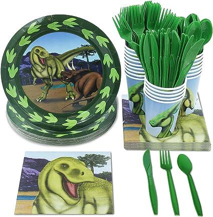 Amazon.com: Dinosaur Party Supplies – Serves 24 Dino Paper Plates ...