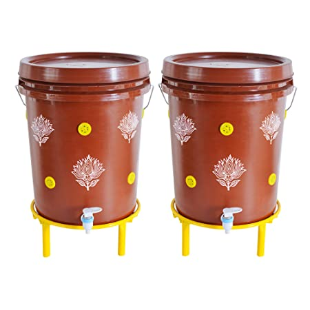 Daily Dump Chomp Double - Set of 2 Indoor Smart Compost Bin with Stands for Converting All Kinds of Kitchen Food Waste into Manure