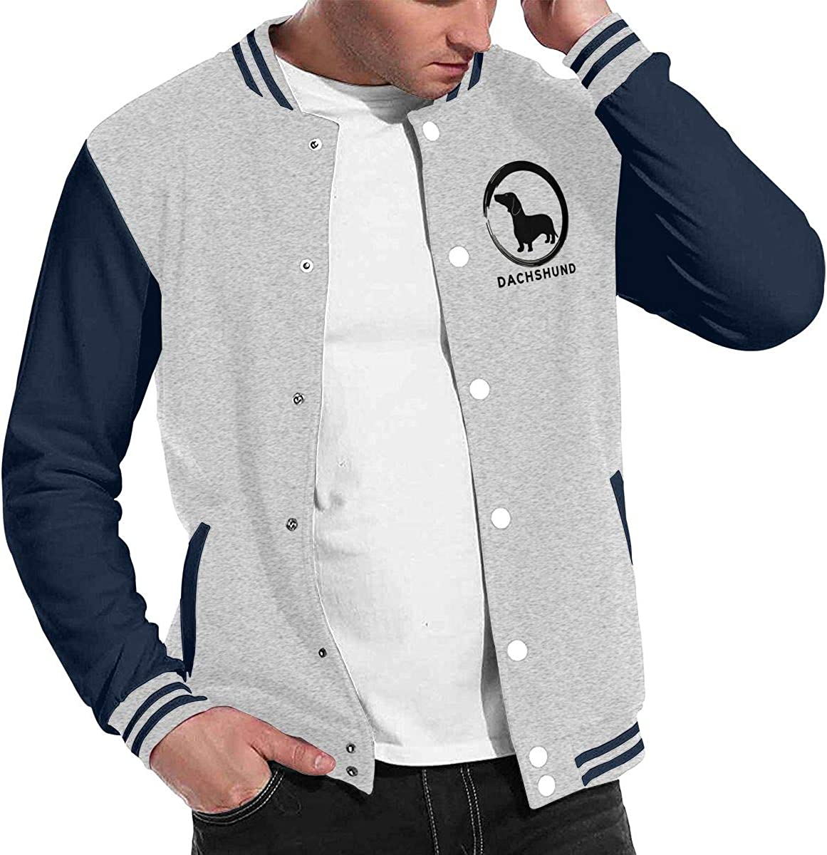 JJKKFG-H Dachshund Dog Mens Fashion Baseball Uniform Jacket Sport Coat