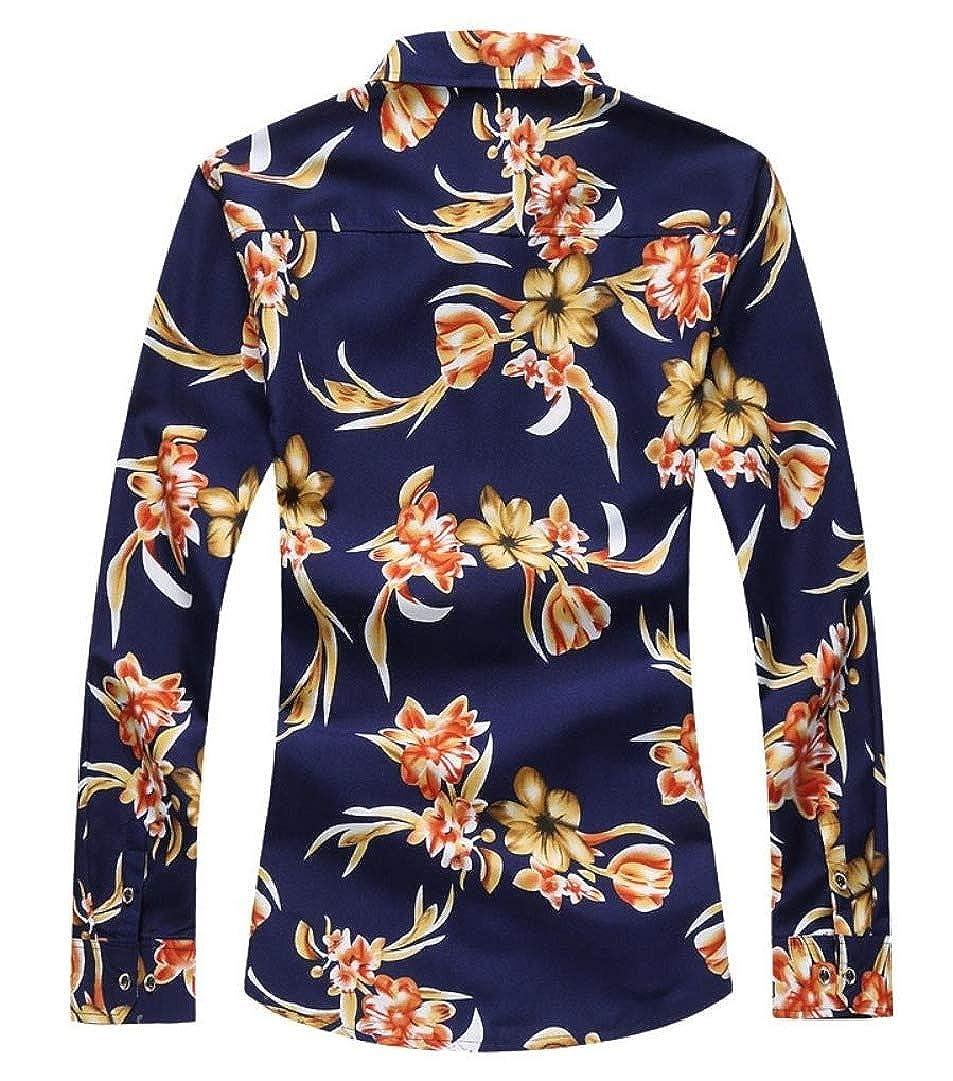 VITryst-Men Long-Sleeve Regular Fit Oversized Print Shirt Blouse Tops
