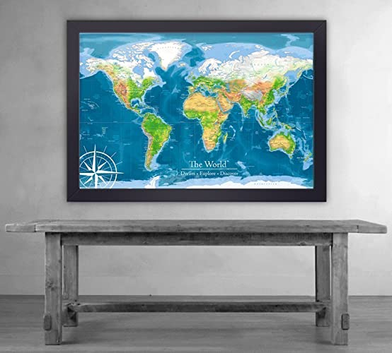 Amazon push pin travel map physical world map large framed push pin travel map physical world map large framed map gumiabroncs Image collections