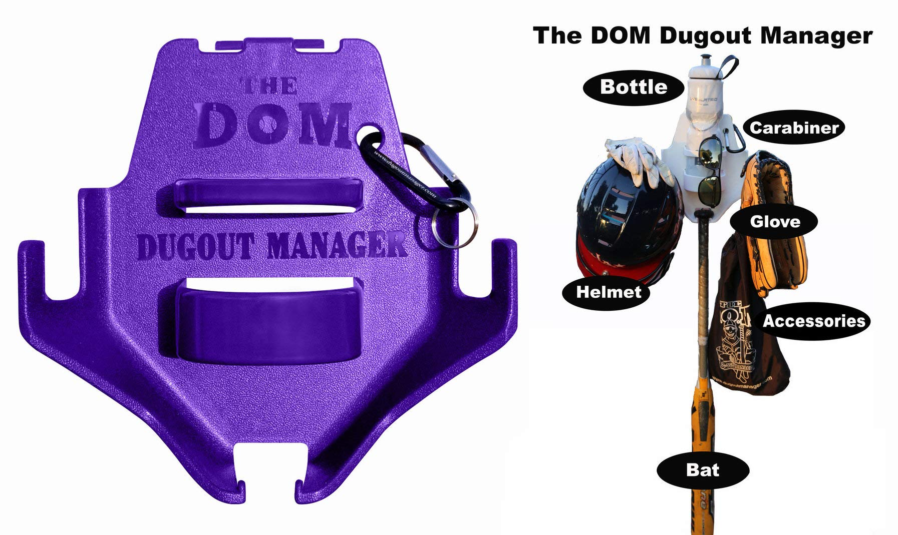 THE DOM Dugout Organizer for Softball & Baseball Gear Hanger for Bat, Glove, Helmet and Bottle of Water (13 Count) (Purple) by THE DOM