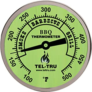 product image for Tel-Tru BQ300 Barbecue Thermometer, 3 inch glow dial with zones, 4 inch stem, 100/500 degrees F