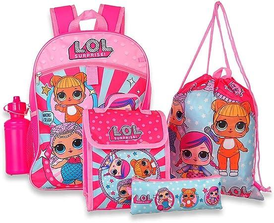 L.O.L Surprise NEW LOL Girls 5 Piece Backpack School Set Blue//Pink