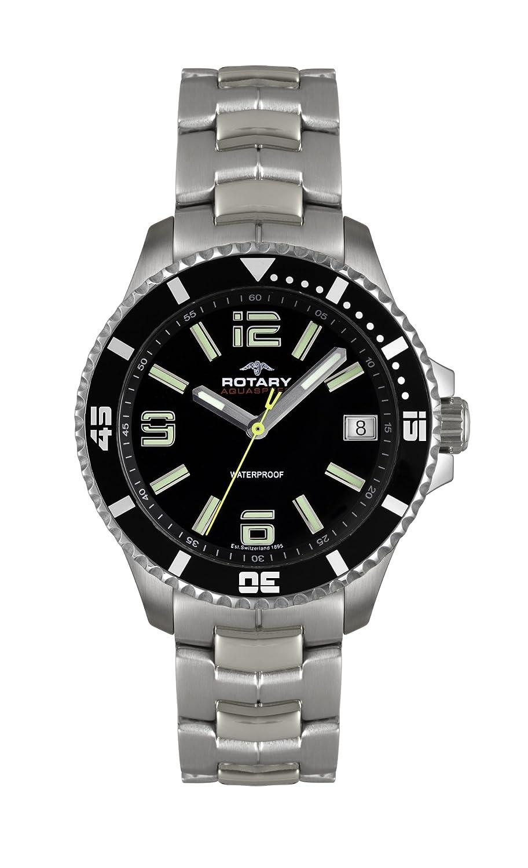 Rotary AGB00074/W/04 - Reloj analógico de Cuarzo para Hombre, Correa de Acero Inoxidable Color Plateado (Agujas luminiscentes)