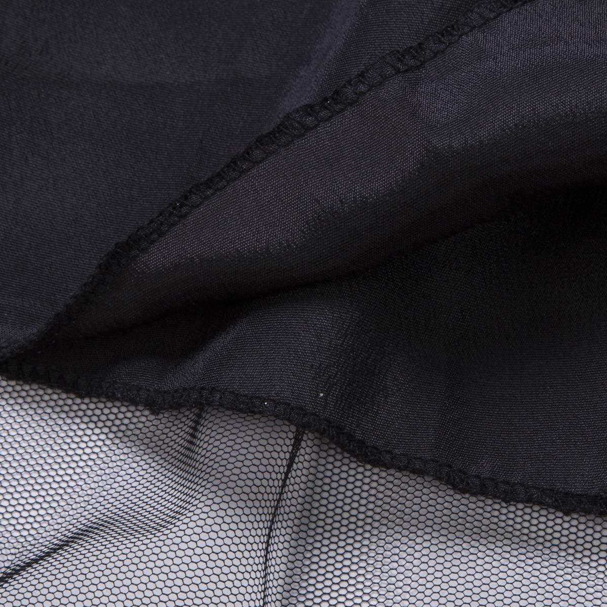 Tulle Nero da Donna Geagodelia Vestito Senza Maniche a Linea di Matrimonio Multistrato con Paillettes con Lustrini Abito da Sera Lucido Abito Pieghettato