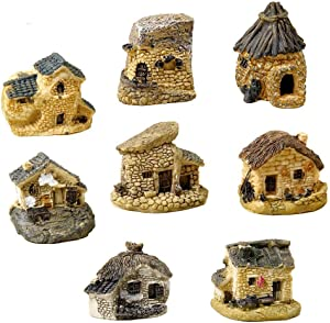 SUCOOL 8 Pieces Fairy Garden Accessories Miniature Fairy Garden Stone House for Miniature Garden Ornaments Dollhouse Decor (Random Color)