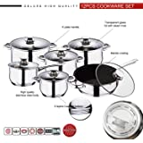 12pc Cookware Set, Deluxe Quality Stainless Steel, Casserole, Stock Pot, Saucepan, Fry Pan with Marble Coating   Induction Safe   Oven Safe   Dishwasher Safe - 5 Layer Capsule Bottom