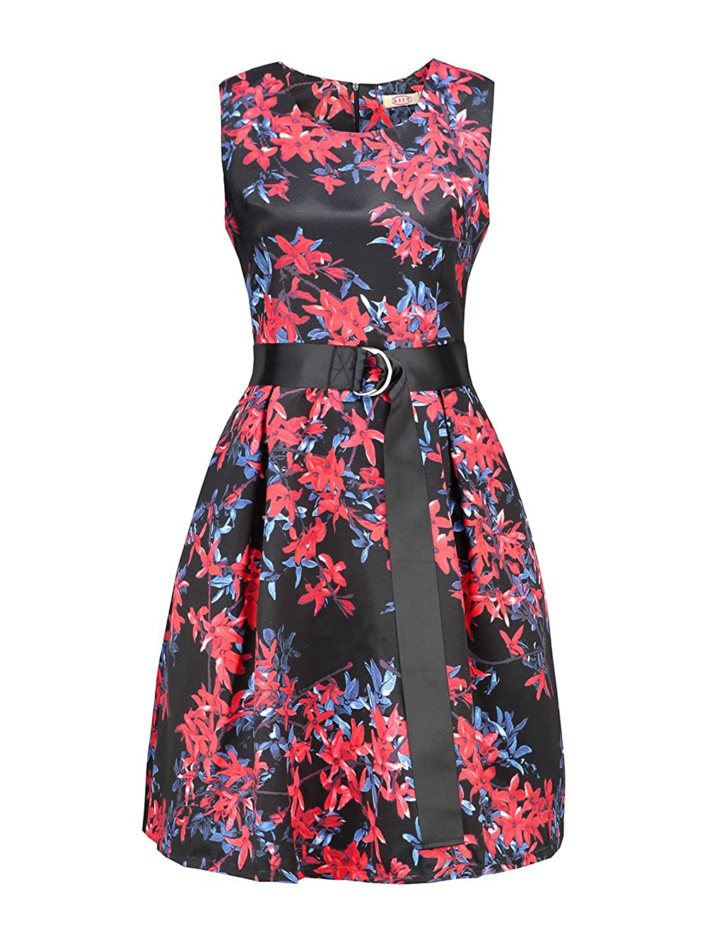 AIIT Womens Spring Floral Fit And Flare Dress With Adjust Sash Plus Size LYQ-3529
