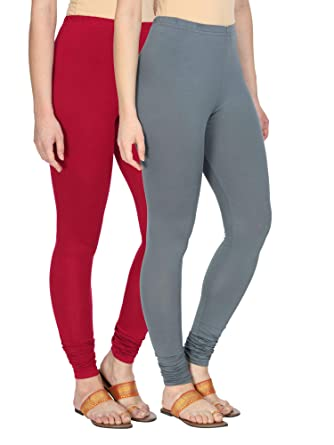 0eb9161372 Alena Cotton Lycra Womens Churidar Length Red and Grey Color Leggings