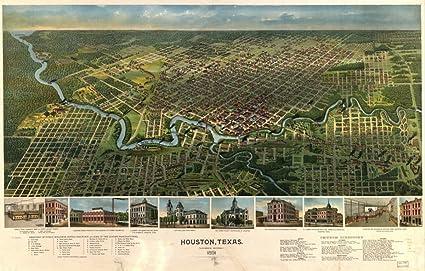 Amazon.com: 1891 Map of Houston Texas, birds eye map n.p. ...
