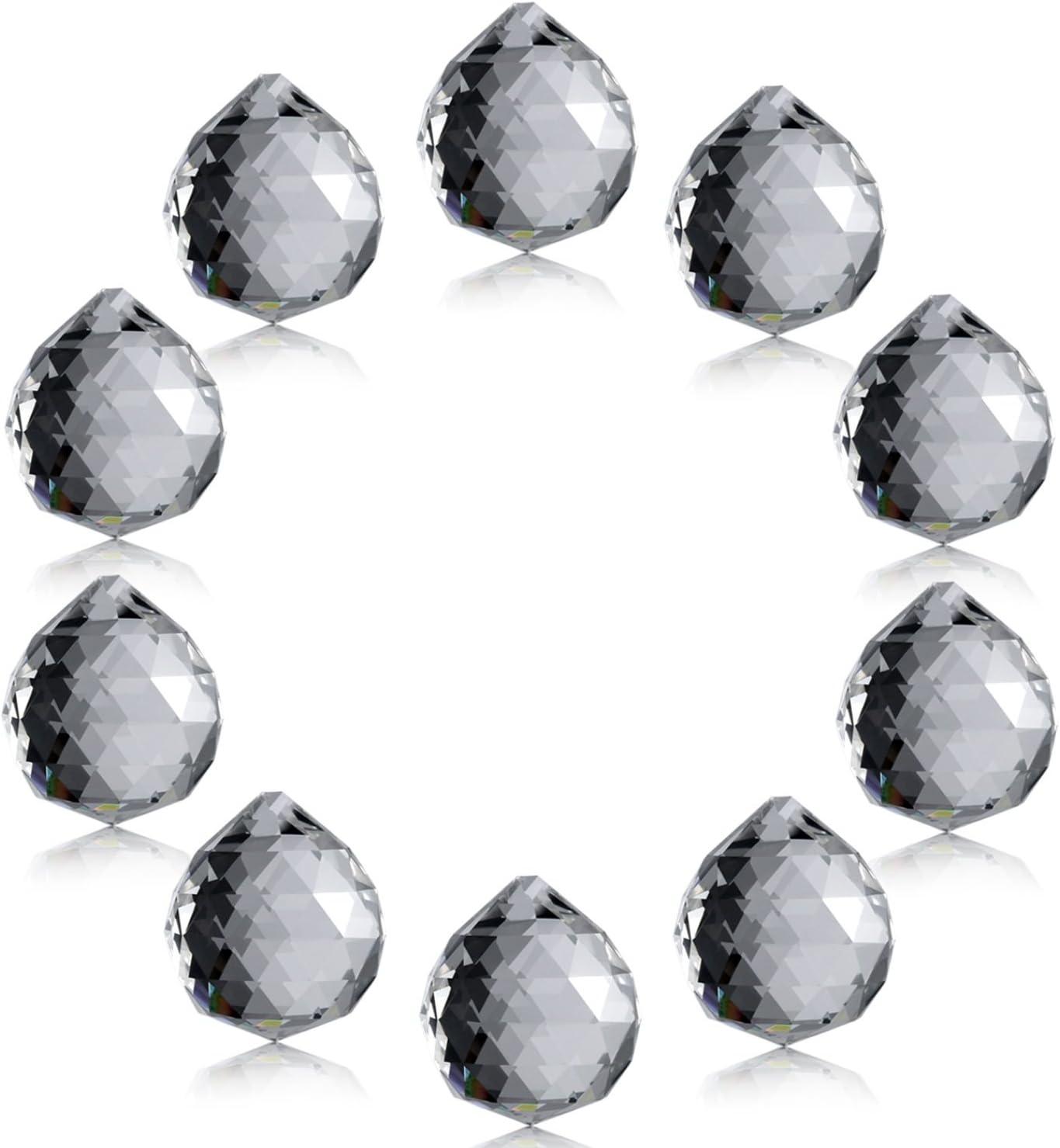 Adivinaci/ón o Boda Oficina Decoraci/ón Neewer 20-Pack 40mm Bola de Cristal Transparente Prisma Colgante Colector Solar para Feng Shui Hogar