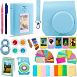 DNO Fujifilm Instax Mini 9/8 Camera Accessories (11 Piece Kit) - Includes Protective Case/ Hanging Frames/ Filters/ Selfie Lens/ Photo Album/ Stickers and More - Portable & Perfect Gift (Blue)