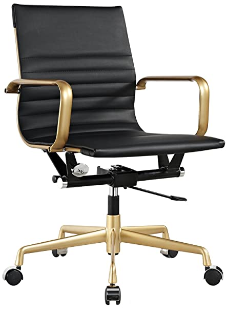 Meelano M348 Vegan Leather Office Chair, Gold/Black