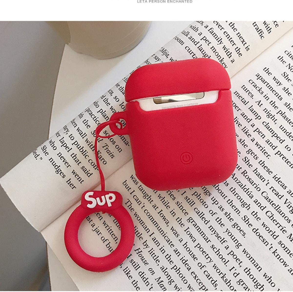 for AirPods Pro Case Protective Cover .Compatible with Apple AirPods Pro 2019 Silicone Case Keychain Protective Cover Skin for AirPods Pro Charging Case Fashion Designer Cases Red Sup Pro
