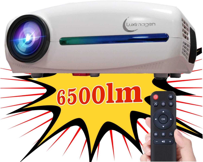 Proyector Full HD 1080P, Luximagen FUHD200 (1920x1080) 6.500 lúmenes LED, Proyector Barato Maxima luminosidad Portátil LED Cine en casa AC3 HDMI USB MKV Sin Input Lag Corrección Horizontal (Blanco)