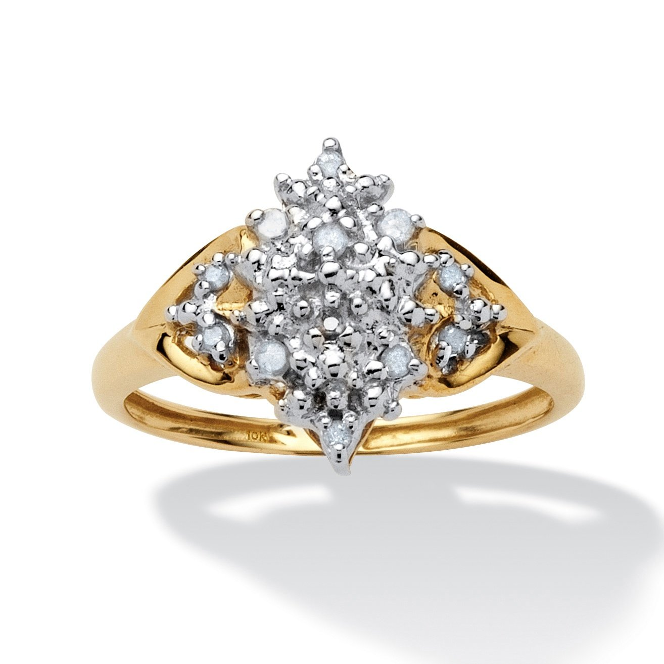 Round White Diamond 10k Gold Cluster Anniversary Ring (.10 cttw, GH Color, I3 Clarity) Size 7