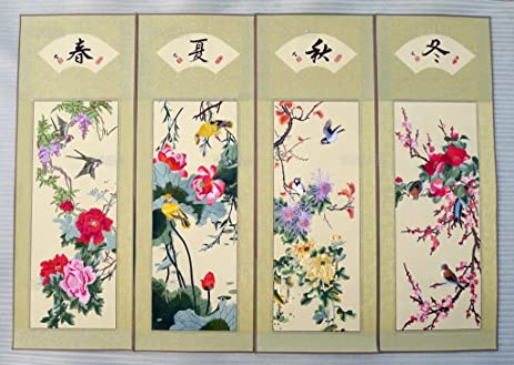 Chinese Traditional Suzhou Embroidery Unframed The Four Seasons Oriental  Wall Art Decoration Tapestry Artwork Picture Gifts