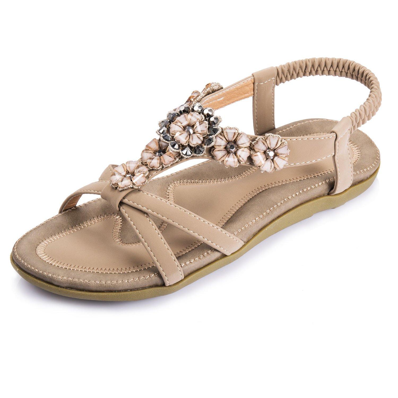 Lemontree Fashion perlée clip Toe Flats Femmes Sandales Herringbone Bohême 309