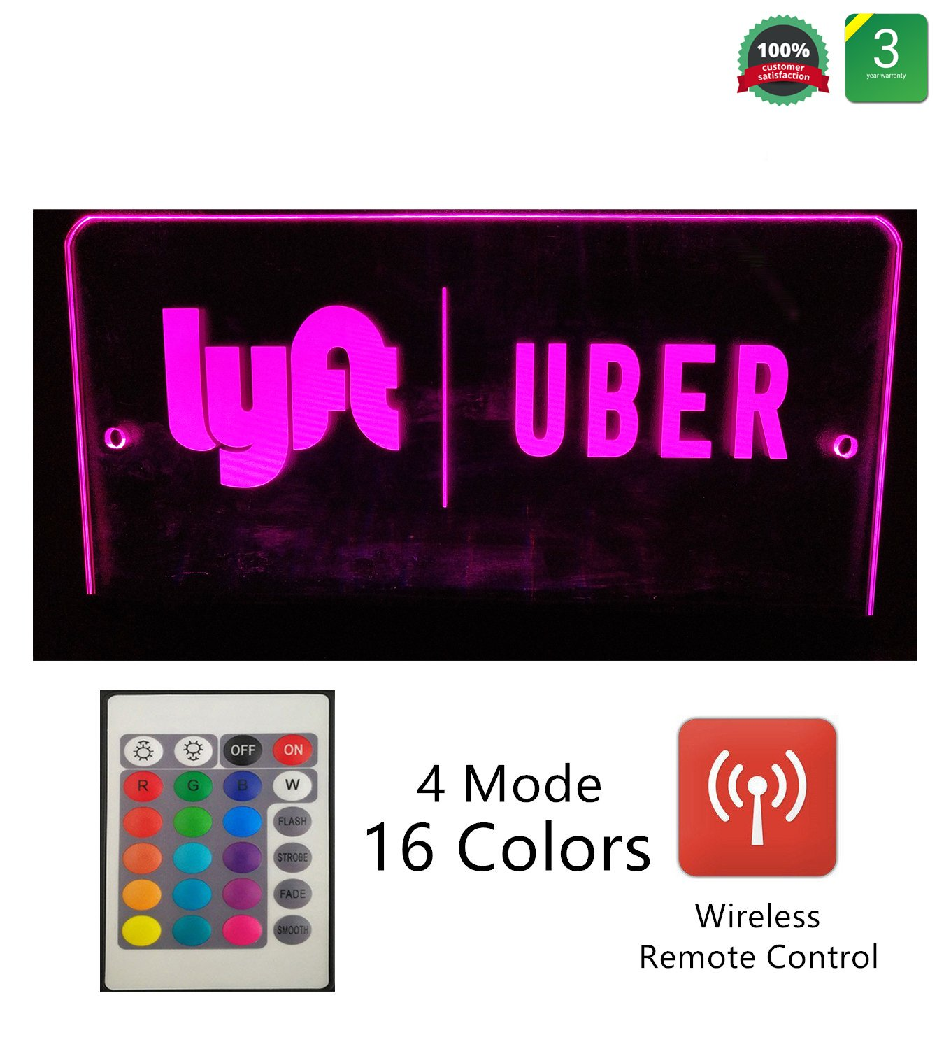 UBER SIGN GLOW LED Light Logo Decal Stickers with Wireless Remote Control 4 Light mode 16 Adjustable Colors 4 Bigger Stronger Suction Cups Removable For Rideshare Driver UBER LYFT Light Up Sign