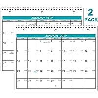 Lemome 2 Pack Monthly Wall/Desk 2019 Calendar with Julian Date
