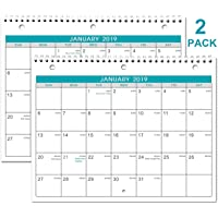 2019 Calendar - 2 Pack Monthly Wall/Desk Calendar with Julian Date, Generous Memo Lined Pages with A4 Premium Thick Paper, January 2019 - December 2019, Bonus 2020 Yearly Planning, 8.5 x 11 Inches