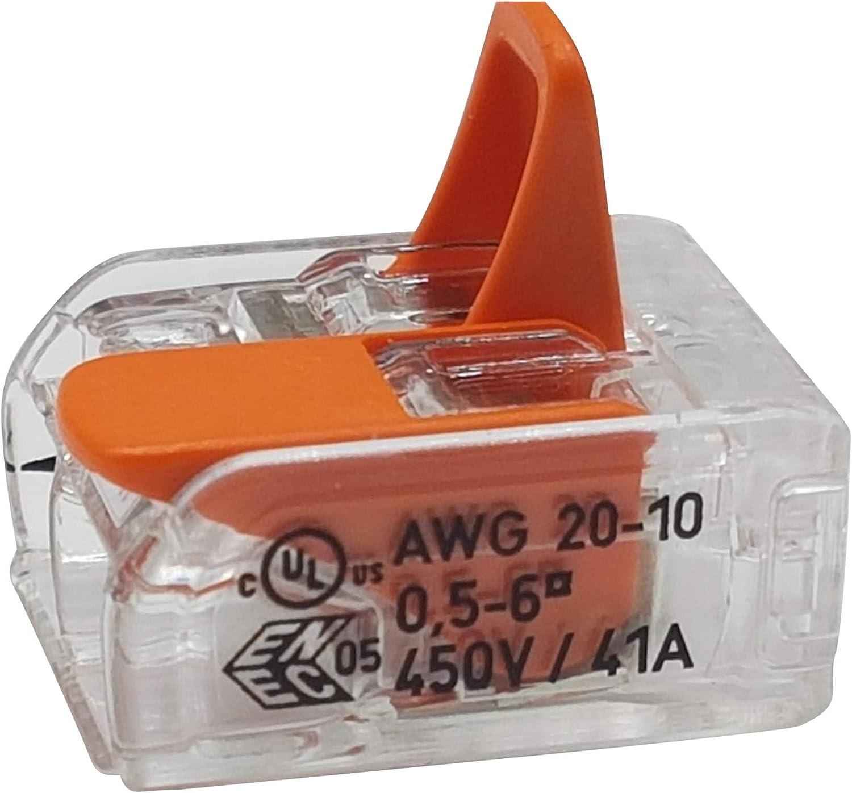 transparent 10 pi/èces Wago 221-612 borne de raccordement 2 fils avec levier 0,5-6 qmm petit mod/èle