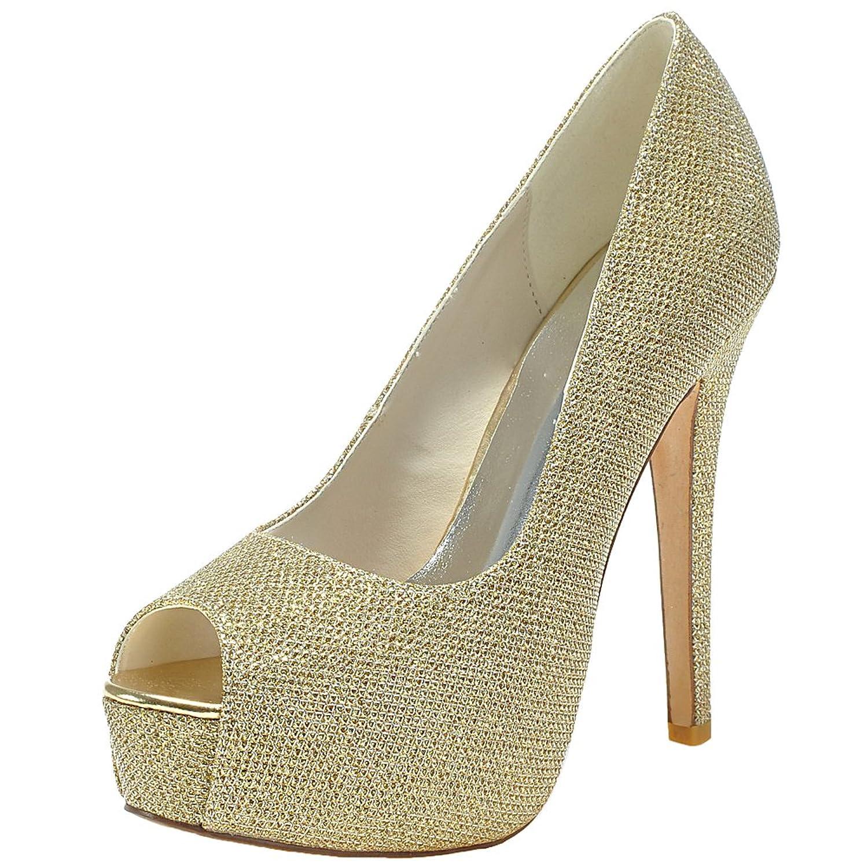 d875fa22019c chic LOSLANDIFEN Women s Sexy Peep Toe Flicker Pumps Hidden Platform High  Heels Wedding Bridal Shoes