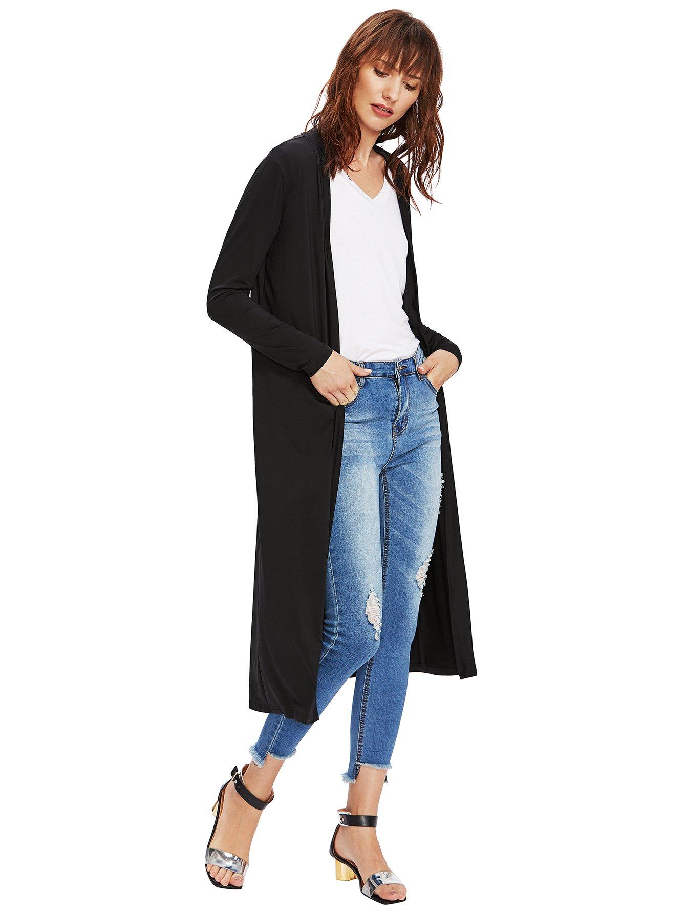 Verdusa Women's Long Sleeve Open Front Long Maxi Cardigan Longline Duster Coat Black M by Verdusa (Image #2)