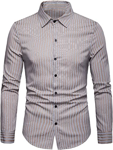 XingYue Direct - Camisa de manga larga para hombre, diseño de rayas verticales, con botones: Amazon.es: Ropa y accesorios