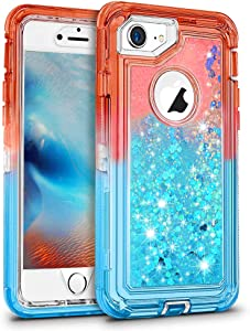 MAXCURY for iPhone 8 7 6 Glitter Case, Flowing Bling Liquid SCRIPTANE PW 24/27 H Quicksand Heavy Duty Shockproof Defender Cover for iPhone 6/6s in 4.7 Inch (Coral/Blue)