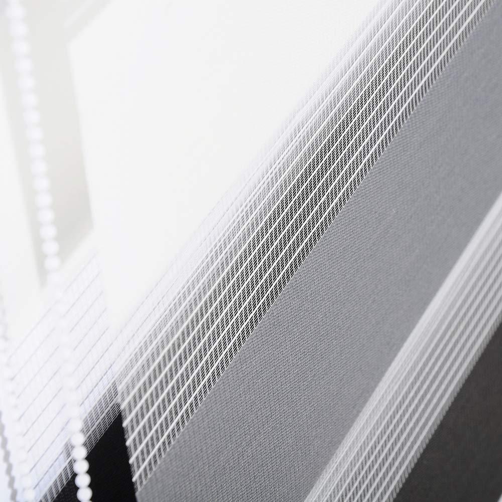 Elightry Store Enrouleur Double Store//Store occultant sans percage,Blanc+Anthracite+Gris,70x220cm