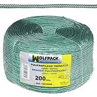 WolfPack 16010285 Cuerda Trenzada Polipropileno Blanca/Verde (Bobina 200