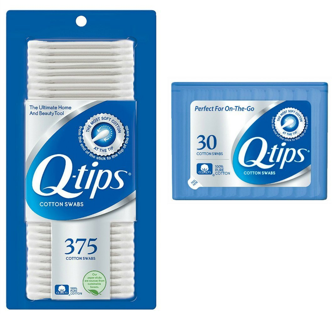Q-tips Cotton Swabs, 375 ct + Travel Holder Case for a Purse