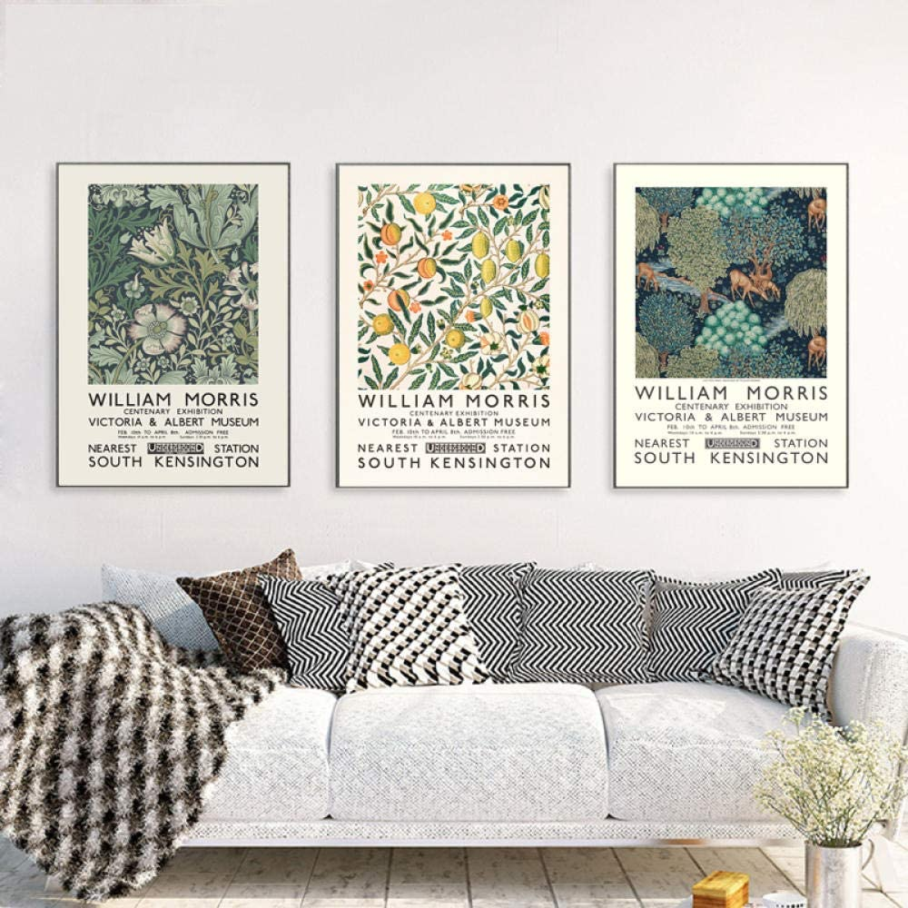 Wall Art,Posters Prints,William Morris Canvas Print The Victoria and Albert Museum Exhibition Poster London Underground Art Nouveau Painting Wall Decor,Posters Art Deco,Poster for Room - 50X70Cm
